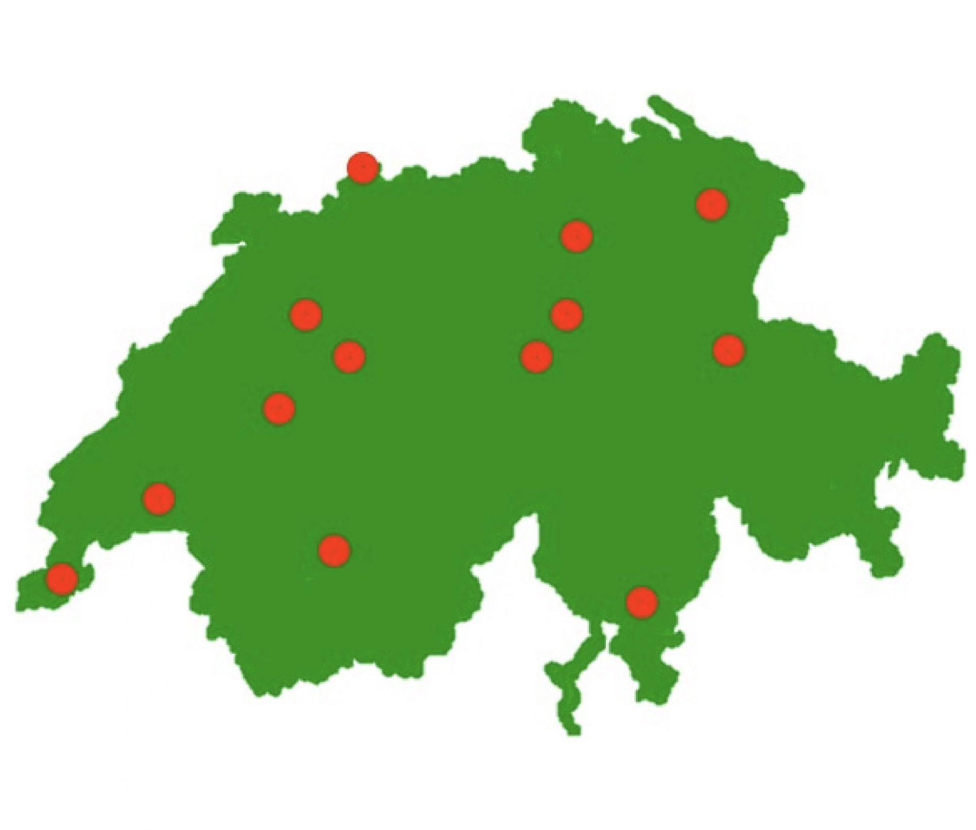 Karte Schweiz Standorte Sprachschule Schneider mit Partnerschulen